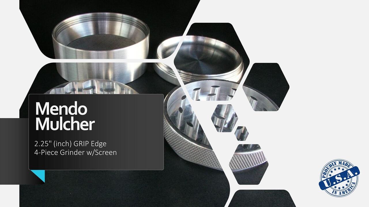 "Mendo Mulcher 2.25"" (inch) 4-Piece Screened Grinder Facebook"